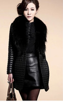 Wholesale 2015 Big raccoon fur collar sheep skin leather and cotton leather jacket long coat Women s fur black long winter coat