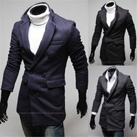 asymmetrical jacket men - Fall The new button collar men asymmetrical design long windbreaker jacket F68