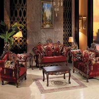 american hotel furniture - European Sofa High grade red Fabric Sofa hotel Sofa American luxury villa washable oak wood
