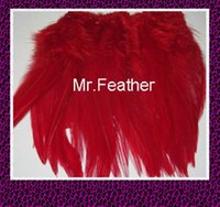 Wholesale EMS kgs red Rooster Hackle Feather Strung cm quot rooster feather Trimming Rolls DIY accessory