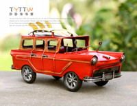 Cheap American classic cars series handmade retro finishing wagon webworm crafts decoration