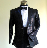 Wholesale 2016 High Quality Custom made men tuxedos The star Black sequins Two Wedding Party Dress men s wedding suits tuxedos suit for men