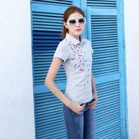 Wholesale Spring summer Women s short sleeve Polo shirt female large size embroidery flower shirt