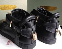 Wholesale Dress Shoes color gold red white black brand genuine leather men Sneakers shoe lock high top eur High quality