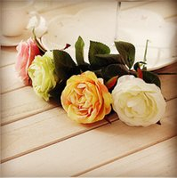 anna roses - High Quality European Dining Table Anna Roses Artificial Silk Decorative Rose Flowers Wedding Home Party Decoration