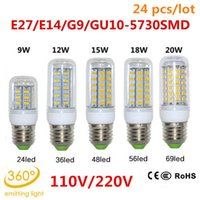 Cheap 24pcs lot Free DHL GU10 E27 E14 G9 110V 220V 9W 12W 15W 18W 20W SMD 5730 LED lamp CE and ROHS Ultra Bright LED Corn Bulb light Chandelier