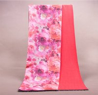 Wholesale Stylish New Double side Red Cashmere Rose Flowers Print wool scarf warm shawl Wraps Size190x65cm
