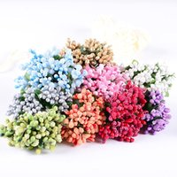 foam flowers - 48PCS Colourful Artificial Floral Foam Bridal Mini Bouquet Flower Stamens With Leaves for Wedding party wreath Decor
