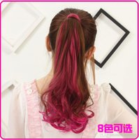 Wholesale High Quality Heat Resistant Synthetic Wavy Ombre Ponytail Useful Styling Tools Womens Curly Hair Extension Pony Tail PT33