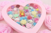 Cheap Set of 72pcs pack including box -Sweet Kawaii Deco Cabochon Adjustable Rings For Kids Mix free shipping-SZ0181