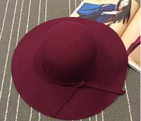 Wholesale 100 New Vintage Women Faux Wool Wide Brim Felt Bowler Fedora Hats Lady Floppy Caps Fedoras