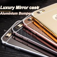 PU aluminium mirrors - 2016 New arrival Luxury Mirror Gold Metal Aluminium Bumper Hybrid Hard Phone Back Case Cover for iPhone6 s iphone plus