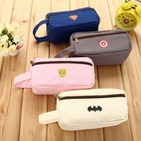 Cheap Wholesale-Fashion brief super large capacity canvas pencil case pen bag stationery bags