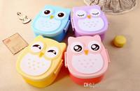 Wholesale Microwave Bento box Cartoon cute owl Japan jogo de panelas Bento Lunch meal box tableware Easy Open microwave oven