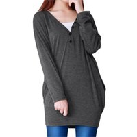Wholesale FS Hot Ladies V Neck Buttons Decor Long Batwing Sleeve Loose Tunic Blouse order lt no track