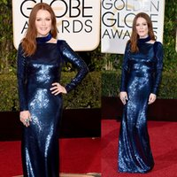 art t shirt design - Unique Design Golden Globe Awards Julianne Moore Celebrity Red Carpet Dresses Sequined Long Sleeve Evening Gowns W6527