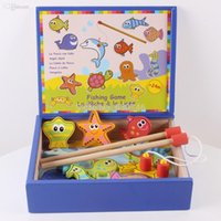 Wholesale Educational Magnetic Wooden Fishing Game Toy Sea Creatures Fishing Rods for Baby Kids Children Learning Gift