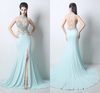 Wholesale In Stock Mermaid Prom Pageant Dresses High Neck Zipper Back Beads Crystal Spandex Formal Evening Gowns ZAHY