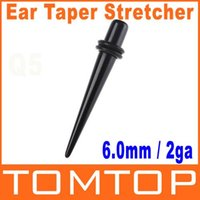 Wholesale 50pcs Single Black Acrylic Ear Expander Taper Plug Stretcher g mm H8380 Shipping Dropshipping