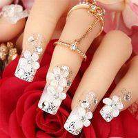 acrylic nail classes - High Class D Bride Acrylic Nail Tips False Nail Tips Wedding Floral Bling Bling False Nail Tips