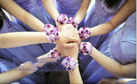 party supplies - Romantic Colurful Wedding Bridesmaid Wrist Corsages Elegant Wedding Accessories Bouquet Party Supplies Bridal Flower Wrist Headdress Cheap