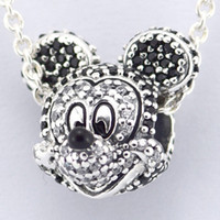 Wholesale New Sterling Silver Pave Mickey Mouse Head Charm bead S925 Stamped Fits pandora Snake Chain Bracelet Fashion DIY Jewelry