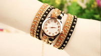 Wholesale 2015 Women leather punk chain bracelets watches fashion ladies dress simple design quartz rivets wrist watches