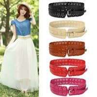Wholesale 2014 New Trendy PC Elegant Belts For Women Lady PU Leather Buckle Hollow Flower Wide Waist Belt Waistband Colors Hot Selling