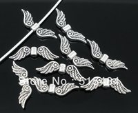 Wholesale Antique Silver Tone Angel Wing Charm Spacers Beads x7mm Jewelry Findings