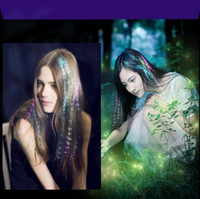 Wholesale LED Braid glowing Hair Extension by optical fiber for Party Holiday Supplies Christmas Decoration Colorful Flash LED Hair Braid DHL Free