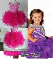Wholesale 2014 Purple infant little kids children girls mini party pageant dresses ball gowns cupcakes