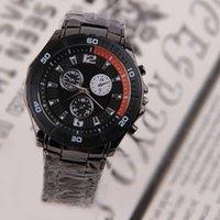 Cheap 20pcs lot Personalized Metal Steel Band Watch Black Round Dial Wrist Watch Gentlemen's Outdoor Ornaments SW267