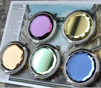 Wholesale 50pcs cm folding makeup mirror compact mirror with crystal metal pocket mirror for wedding gift cosmetic mirror