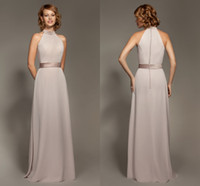 floor length satin dress - Simple Halter Satin Chiffon Sheath Bridesmaid Dresses Cheap Sleeveless Backless Floor length Formal Dresses Covered Buttons L0973