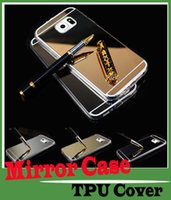 Wholesale For Samsung S5 S6 Edge Luxury Smart Flip Slim View Electroplated Mirror Hard Clear Transparent Case Cover For iphone4 s plus