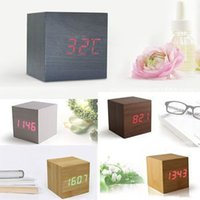 Wholesale Hot Sale Modern Wooden Wood Digital LED Desk Alarm Clock Thermometer Timer Calendar For Sale