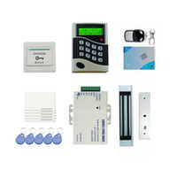 Wholesale LCD Attendance System Recorder Door Access Control Kit Set Remote Electric Strike Magnetic Lock Card PIN Door Bell Exit Button order lt no
