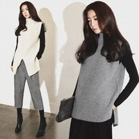 Wholesale 2015 New Style Women s High Necked Sleeveless Sweater Pullover Hedging Solid Color Fashion