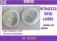 Wholesale ISO14443A RFID PASSIVE LABEL MHZ NTAG213 CHIP BLANK RFID LABEL MM OR MM FOR CHOOSE Roll Free Ship