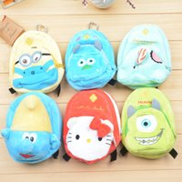 Wholesale New cute children girl teenager cartoon Character Plush Coin Purse Mini cm Fashion Backpack Minions Wallet young lady phone purses