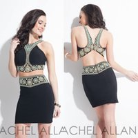 Cheap Little Black Dresses Beautiful Embroidery Crew Backless Short Party Prom Dress Tighter Cocktail Dresses Short