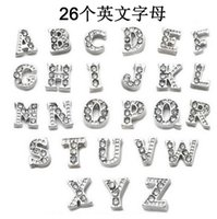 Wholesale A Z letters DIY accessories A Z Crystal Letter Heart Floating Charm for Glass Living Memory Locket