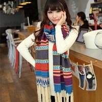 Les femmes de la mode gros-2015 rétro vent nationale à long épaissies glands en automne et laine à tricoter des écharpes d'hiver Nouveaux bohème