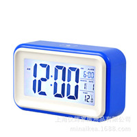 alarm clock features - 5 color large screen LCD alarm clock with a snooze feature stylish desk clock calendar thermometer smart lights photosensitive b