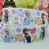 character ribbon - 7 mm Frozen princess cartoon characters printed grosgrain ribbon hairbow party decoration yards satin ribbons C