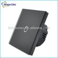 Сенсорную панель Цены-1Gang 1way черный кристалл закаленное стекло сенсорной панели переключения экрана стены, Сенсорный выключатель EU / UK стандартный AC110-250V