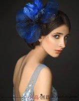 unique hair accessories - Unique Bridal Hair Accessories Feather Stunning Blue Grandeur Topper Tulle Bridal Veils LA Hand Made