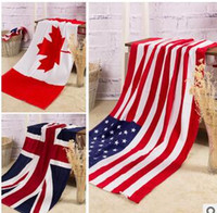 Wholesale 2015 color CM USA UK flag EUROS Unisex cotton stripe printed beah towels bathing towel Shower Gym Fitness Camping Towel