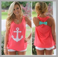 anchor blouse - Fashion Summer Sport Anchor Vest Tanks Camis Blouse Women Tops Sleeveless Bowknot Back Plus Size Vests Vestidos Casual Ladies Sport Vest B78