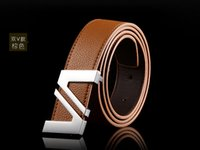Wholesale 2015 arrival high qdesigned brand uality fashion gold plated buckle belt silver plated Double V type genuine leather men blet
